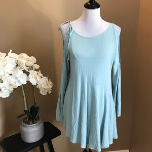 Free People Blue Tunic or Mini Dress Cold Shoulder